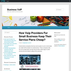How Voip Providers For Small Business Keep Their Service Plans Cheap?