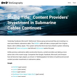 Rising Tide:  Content Providers' Investment in Submarine Cables Continues