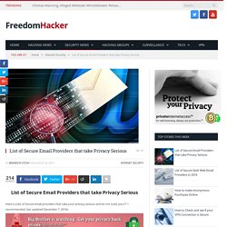 List of Secure Email Providers that take Privacy Serious - FreedomHack