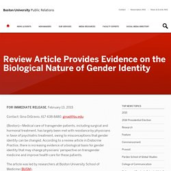Review Article Provides Evidence on the Biological Nature of Gender Identity