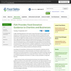 FSAI 19/09/17 FSAI Provides Food Donation Guidance to Charities and Businesses