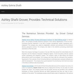 Ashley Shafii Grover, Provides Technical Solutions