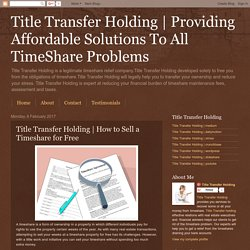 How to Sell a Timeshare for Free