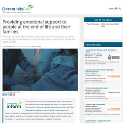 Providing emotional support to people at the end of life and their families