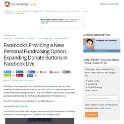 Facebook's Providing a New Personal Fundraising Option, Expanding Donate Buttons in Facebook Live