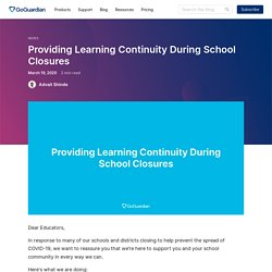 Providing Learning Continuity During School Closures