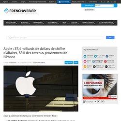 Apple : 37,4 milliards de dollars de chiffre d'affaires, 53% des revenus proviennent de l'iPhone
