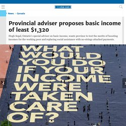 Provincial adviser proposes basic income of least $1,320