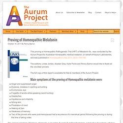 Proving of Homeopathic Melatonin