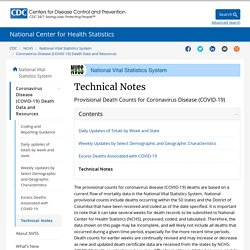 Technical Notes: Provisional Death Counts for Coronavirus Disease (COVID-19)