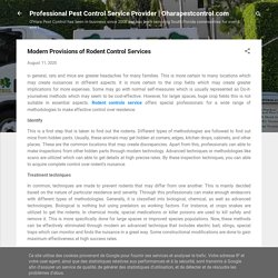 Modern Provisions of Rodent Control Services