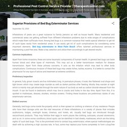 Superior Provisions of Bed Bug Exterminator Services