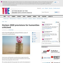 THE: Horizon 2020 provisions for humanities criticised
