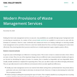 Modern Provisions of Waste Management Services