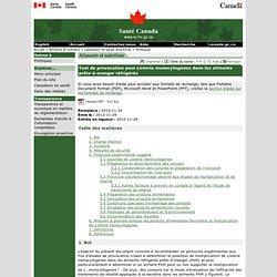 SANTE CANADA - NOV 2011 - Test de provocation pour Listeria monocytogenes dans les aliments prêts-à-manger réfrigérés