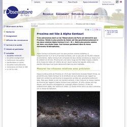 Proxima est liée à Alpha Centauri -