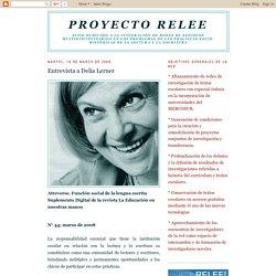 Proyecto RELEE: Entrevista a Delia Lerner