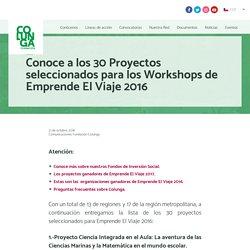 Conoce a los 30 Proyectos seleccionados para los Workshops de Emprende El Viaje 2016 · Fundación Colunga