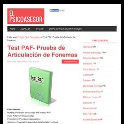 Test PAF- Prueba de Articulación de Fonemas