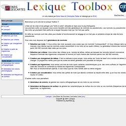Lexique Toolbox