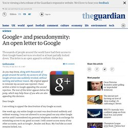 Google+ and pseudonymity: An open letter to @Google