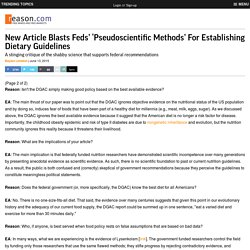 New Article Blasts Feds' 'Pseudoscientific Methods' For Establishing Dietary Guidelines
