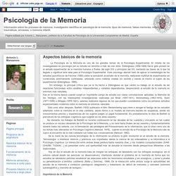 Psicología de la Memoria: Aspectos básicos de la memoria