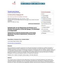 Terapia psicológica - Satisfacción en las Relaciones de Pareja en la Adultez Emergente: El Rol del Apego, la Intimidad y la Depresión