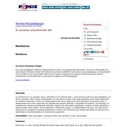 Revista Psicopedagogia - Resiliencia