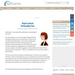 Psych Central Personality Test
