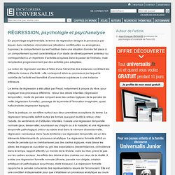 RÉGRESSION, psychologie et psychanalyse