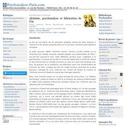 Alchimie, psychanalyse et fabrication de l'Or - Psychanalyse-Paris.com