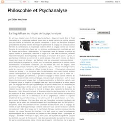 La linguistique au risque de la psychanalyse