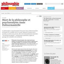 Brèves, Anne Dufourmantelle, Secret, Mort, Deuil, Risque, Psychanalyse, philosophie, Lacan, Jung, Winnicott
