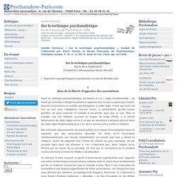Sandor Ferenczi - Sur la technique psychanalytique - Psychanalyse-Paris.com