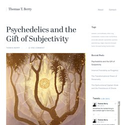 Psychedelics and the Gift of Subjectivity – Thomas T. Berry