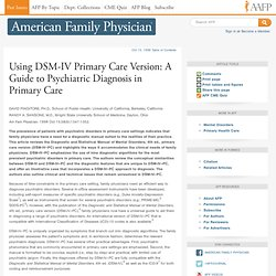 Using DSM-IV Primary Care Version: A Guide to Psychiatric Diagnosis in Primary Care