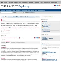 Suicide risk and absconding in psychiatric hospitals with and without open door policies: a 15 year, observational study