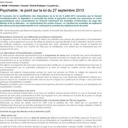Psychiatrie : le point sur la loi du 27 septembre 2013