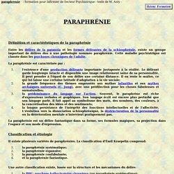 paraphrenie definition theorie pathologie psychiatrique psychiatrie symptome paraphrenique