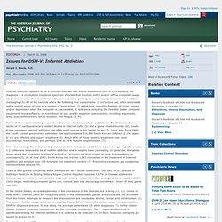 Questions pour DSM-V: Dépendance à Internet