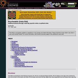 Psychoactive Vaults : Psychedelic Crisis FAQ