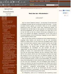 Freud - Psychoanalyse: Notiz über den »Wunderblock«