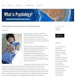 Psychodynamic Explanations of Conduct Disorder