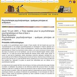 Psychothérapie psychodynamique : quelques principes et analyseurs