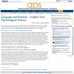 Language and Emotion – Insights from Psychological Science - Association for Psychological Science