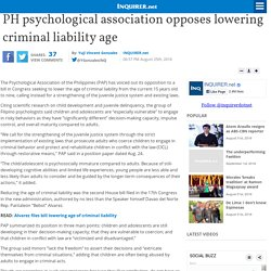 PH psychological association opposes lowering criminal liability age