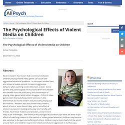 The Psychological Effects of Violent Media on Children