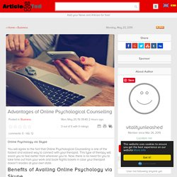 Advantages of Online Psychological Counselling Article