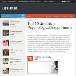 Top 10 Unethical Psychological Experiments - Top 10 Lists | Listverse